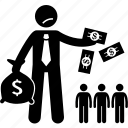 dividend, money, paying, people, shareholders icon