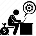 man, profit, revenue, work, working icon