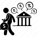 bank, borrow, company, gearing, interest rate, liability, loan icon