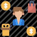 clerk, departments, manage, people, sales, worker icon