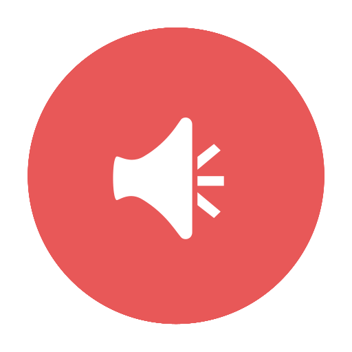 alert, announcement, audio, circular, news, red icon