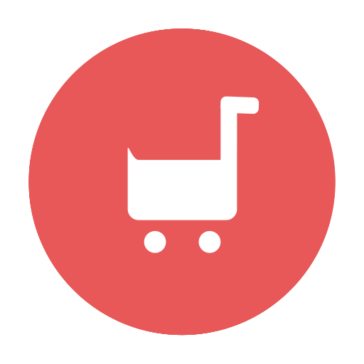 buy, cart, circular, modern, purchase, red, shopping, tray icon