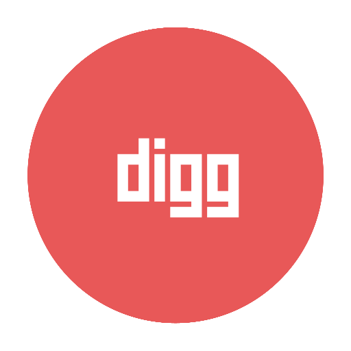 circular, digg, modern, red icon