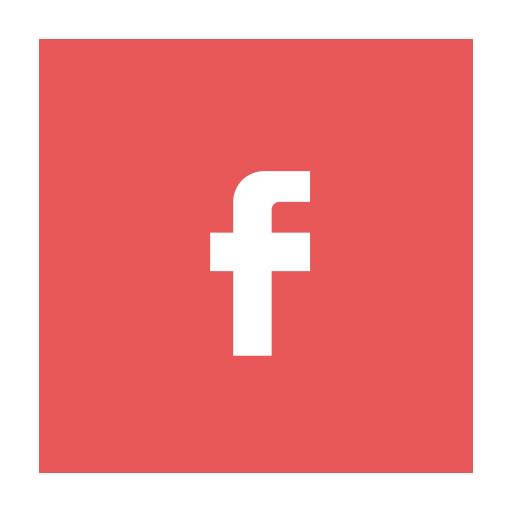 circular, facebook, fb, modern, red icon
