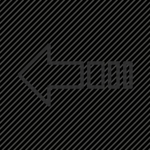 arrow, back, decelerate, decrease, left, return, think block arrow icon