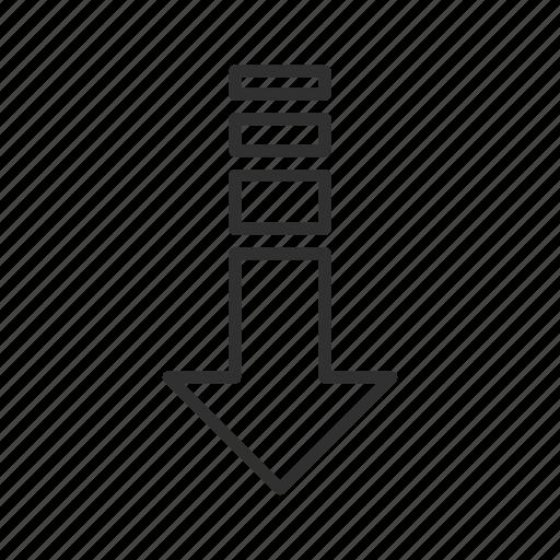 arrow, decelerate, decrease, down, download, think block arrow icon