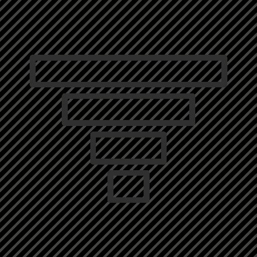 arrow, down, download, graphical arrow, inverse pyramid, think block arrow, under icon