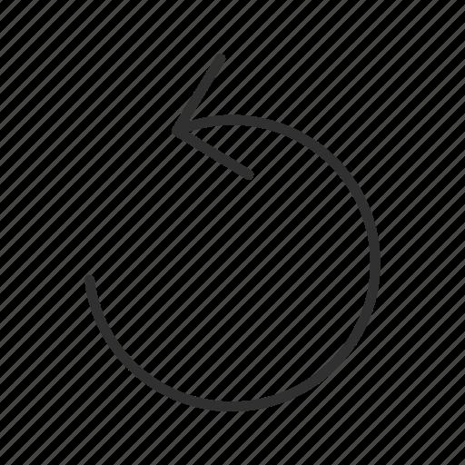 arrow, cycle, loading, processing, revision, thin line arrow, undo icon