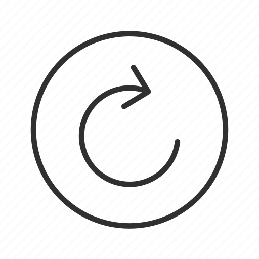 arrow, cycle, loading, processing, redo, start over, thin line circle arrow icon