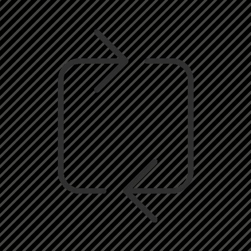 arrow, cycle, infinite loop, process, processing, thin line arrow icon