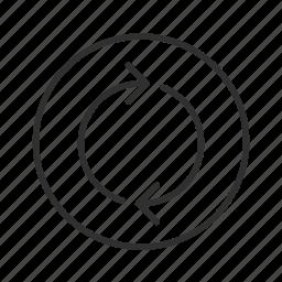 arrow, cycle, infinite loop, process, processing, thin line circle arrow icon