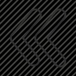 arrow, back, backward, left, return, rewind, think block arrow icon