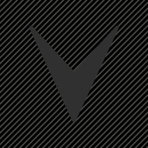 arrow down, arrow head, pointer, send icon