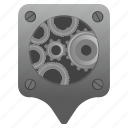engine, gear, location, point, pointer icon