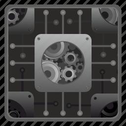 cpu, gears, hardware, memory icon