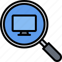 computer, electronics, magnifier, microelectronics, repair, search icon