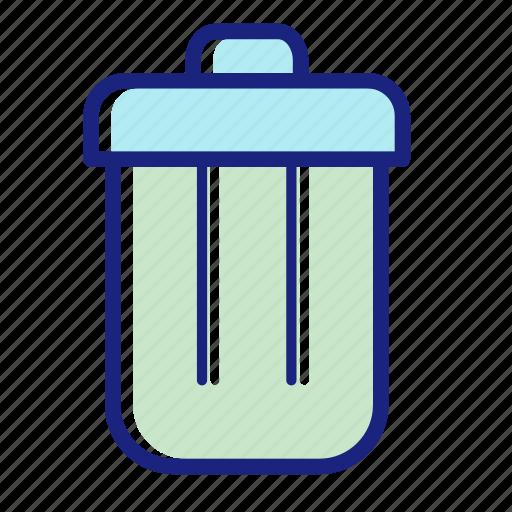bin, bucket, delete, recycle, remove, trash bin, trash can icon
