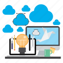cloud, design, development, device, graphic, idea, work icon