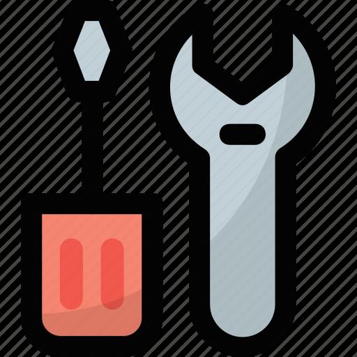 garage tools, maintenance, screwdriver, settings, workshop icon