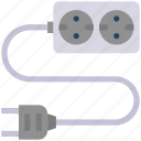 cable, cord, electricity, electronic, extension, power icon