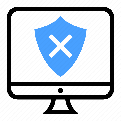 computer, pc, screen, security, unsecured icon