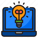 idea, laptop, light, blub, money