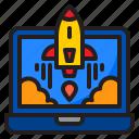 laptop, rocket, internet, start, up, launch