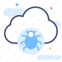 cloud error, infected, internet bug, security, threat, virus icon