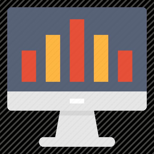 analysis, bar, data, graph, monitor, report, technology icon