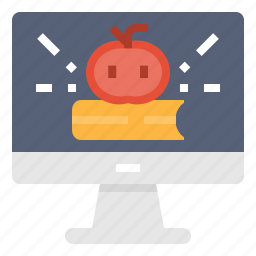 book, computer, education, instruction, learning, study, technology icon