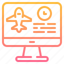 booking, computer, flight, online, service, technology icon