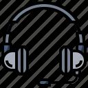 customer, earphones, headphones, headset, microphone, service, videocall icon
