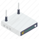 modem, wifi router, broadband modem, network router, wireless router, internet device icon