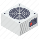 computer supply, cpu supply, desktop supply, power supply, supply device icon