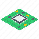 chip, computer hardware, computer motherboard, electronic device, microchip, microprocessor icon