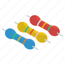 arduino, computer resistor, diodes, electronic components, electronic resistor, power resistor icon