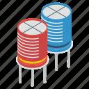 capacitors, ceramic capacitors, circuit components, diodes, electronic components, led capacitors, power capacitors icon