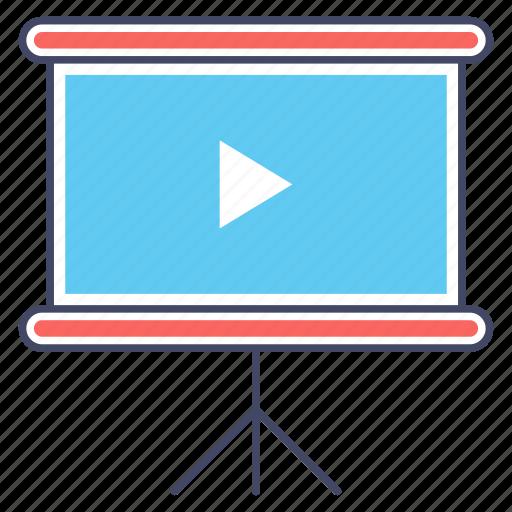 display screen, multimedia, powerpoint screen, presentation board, projection screen icon