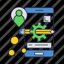 app, gear, mobile, pencil, phone, smartphone icon