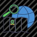 globe, gps, internet, location, map icon