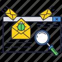 bug, internet, letter, magnifier, mail, online, virus icon