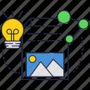 bulb, idea, internet, light, page, photo icon