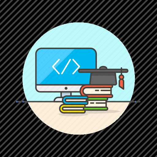 bachelor, computer, device, html, internet, programming, school, technology icon