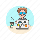 coffee, computer, developer, macbook, man, programming, sticker icon