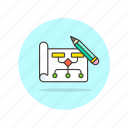 computer, connect, flowchart, pen, programming, technology, write icon