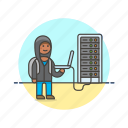 computer, device, hack, internet, man, programming, server, technology icon