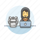 backpack, computer, device, hacker, internet, mac, programming, technology icon
