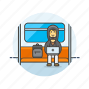bus, computer, device, hacker, man, programming, subway, technology icon