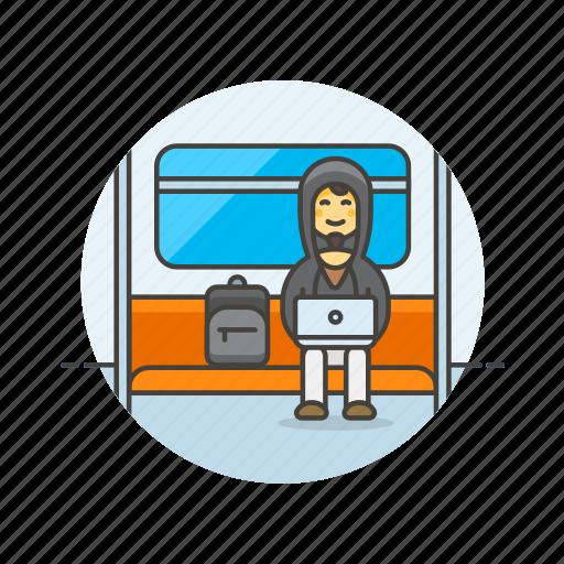 bus, computer, device, hacker, man, programming, subway, technology icon