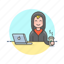 coffee, computer, device, hacker, internet, man, programming, technology icon